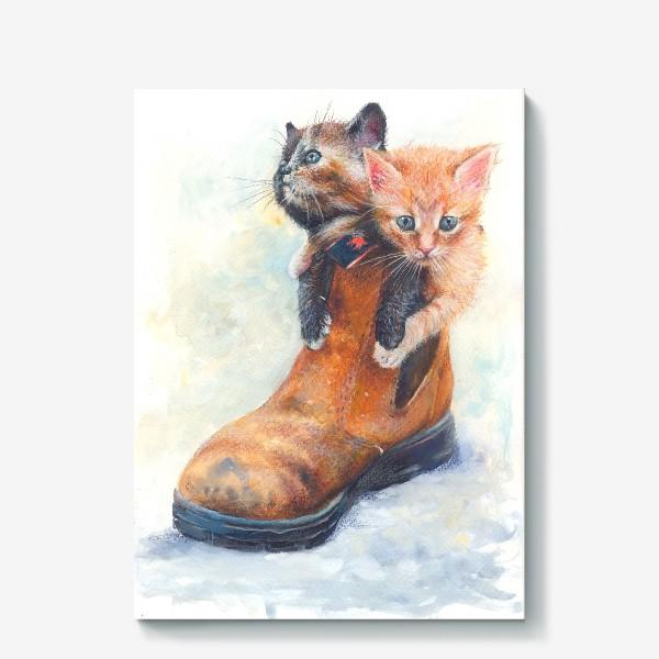 Холст «Котята, кот в сапоге »