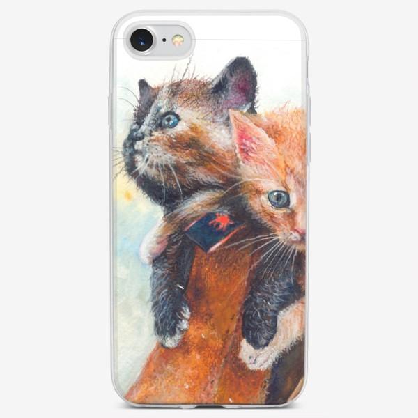 Чехол iPhone «Котята, кот в сапоге »