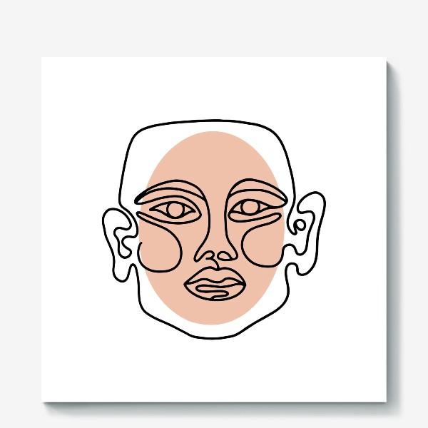 Холст «Абстрактный портрет в современно линейном минималистичном стиле »