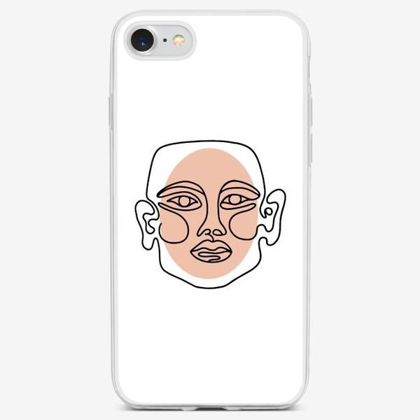 Чехол iPhone «Абстрактный портрет в современно линейном минималистичном стиле »