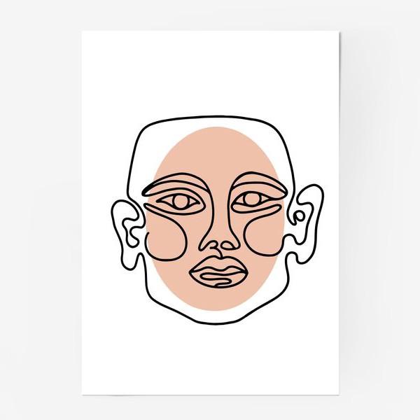 Постер «Абстрактный портрет в современно линейном минималистичном стиле »