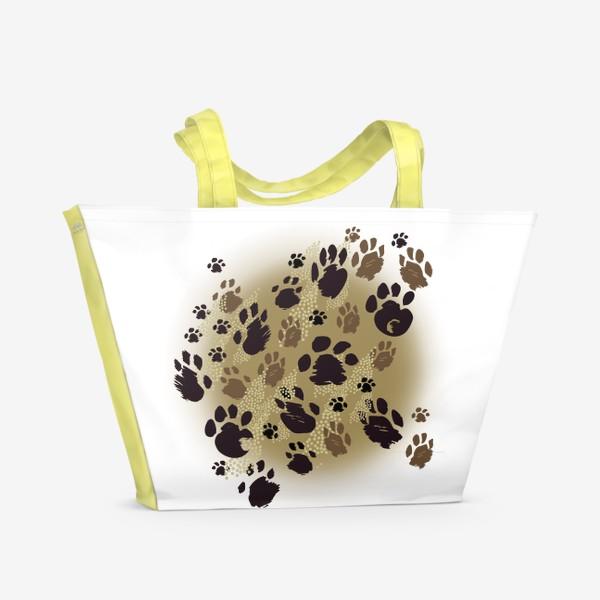 Пляжная сумка «Лапки на бежевом»