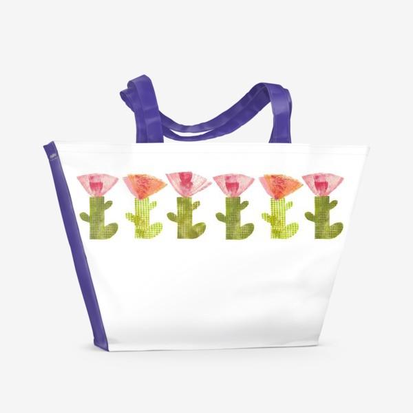 Пляжная сумка «Тропический цветок, ряд (розово-оранжевый)»