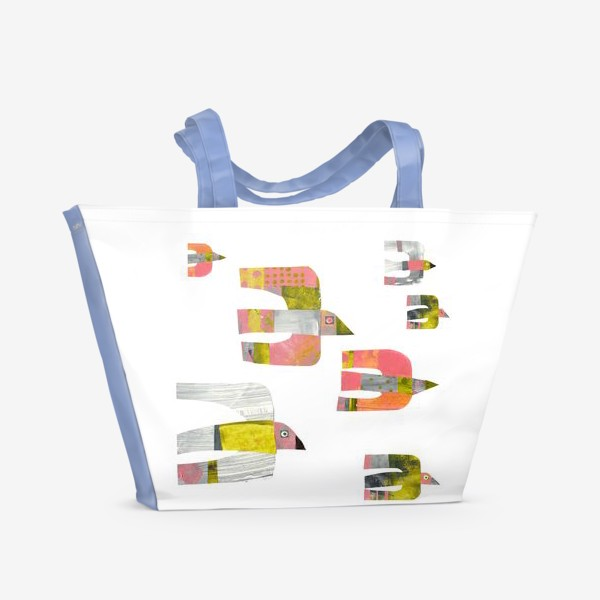 Пляжная сумка «Птицы (розово-серо-зеленые)»