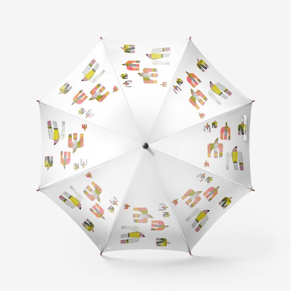 Зонт «Птицы (розово-серо-зеленые)»