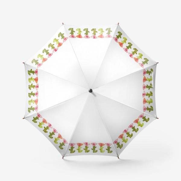 Зонт «Тропический цветок, ряд (розово-оранжевый)»