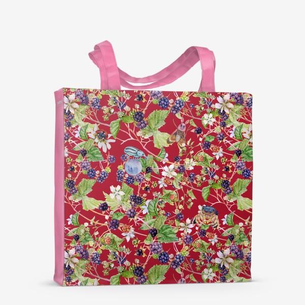 Сумка-шоппер «blackberry bush on a red background»