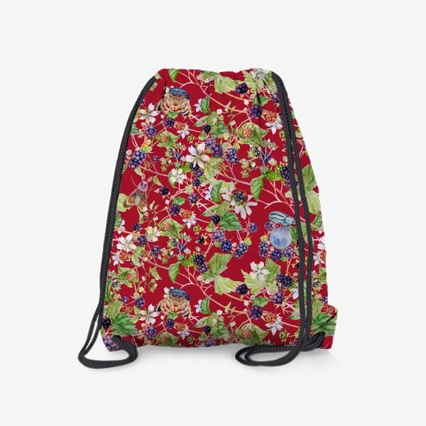 Рюкзак «blackberry bush on a red background»