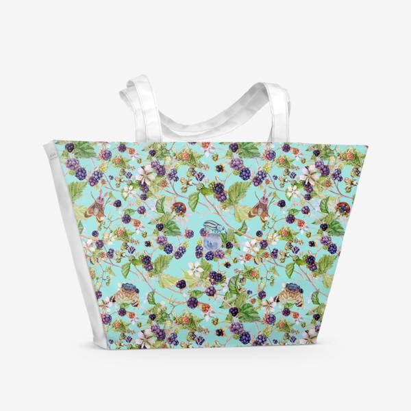 Пляжная сумка «ежевичный куст на бирюзовом фоне»