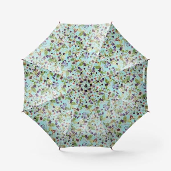 Зонт «ежевичный куст на бирюзовом фоне»