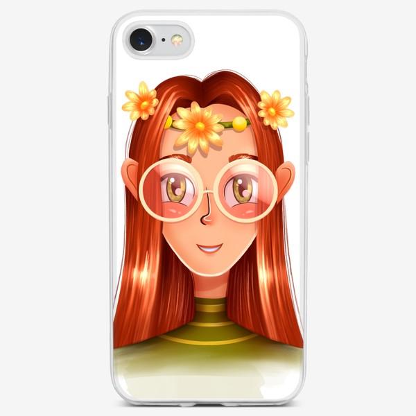 Чехол iPhone «Девочка в очках с венком на голове»