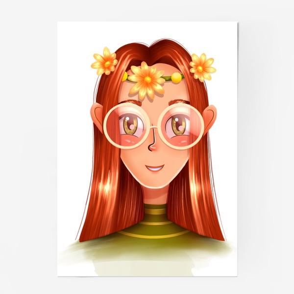 Постер «Девочка в очках с венком на голове»