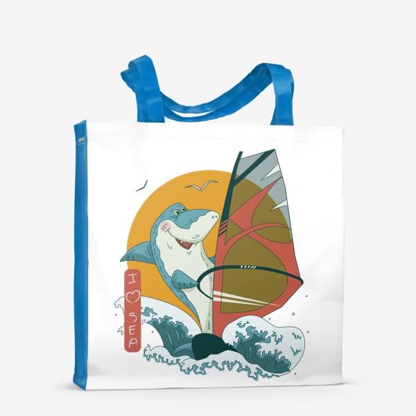 Сумка-шоппер «Акула, море и виндсерфинг»