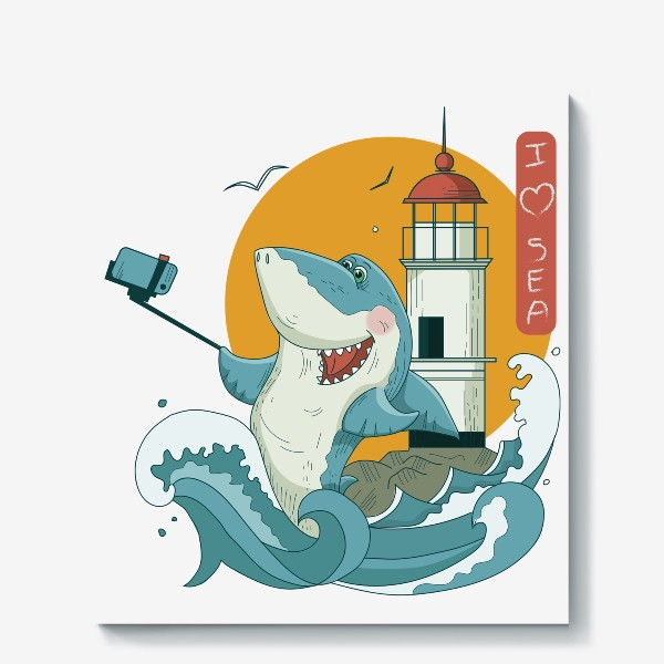 Холст «Акула, Море. Маяк. Владивосток»