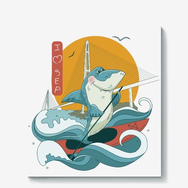 Холст «Акула. Сапсерфинг. Владивосток»