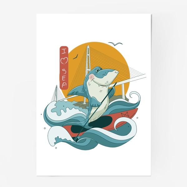 Постер «Акула. Сапсерфинг. Владивосток»