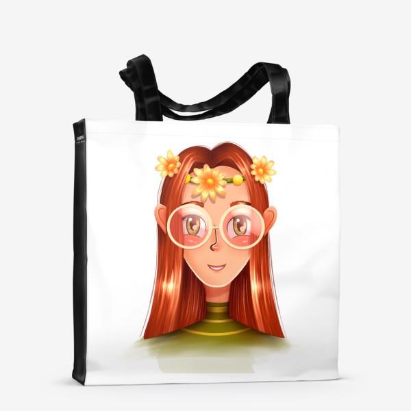 Сумка-шоппер «Девочка в очках с венком на голове»