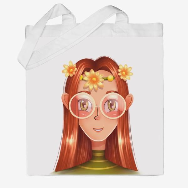 Сумка хб «Девочка в очках с венком на голове»