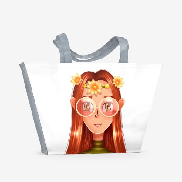 Пляжная сумка «Девочка в очках с венком на голове»