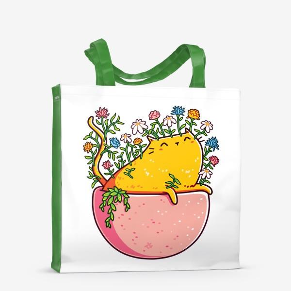 Сумка-шоппер «Кошка в Цветочном Горшке»
