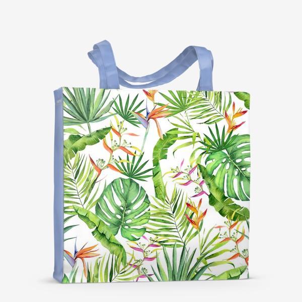 Сумка-шоппер «Тропики на белом. Монстера, геликония, пальма, экзотика»