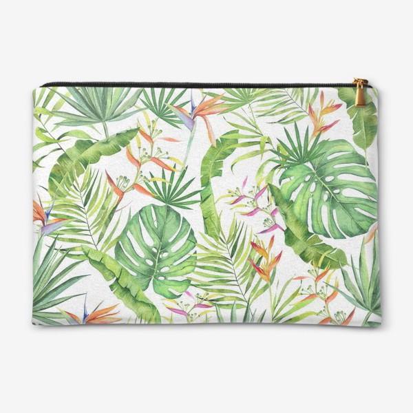 Косметичка «Тропики на белом. Монстера, геликония, пальма, экзотика»