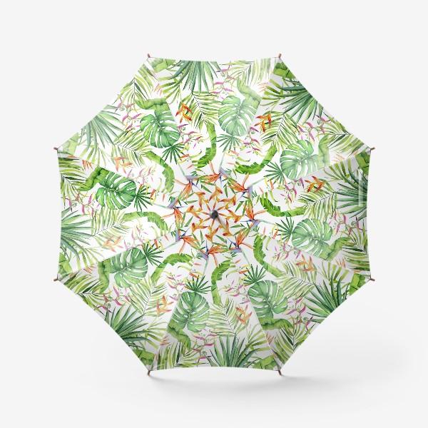Зонт «Тропики на белом. Монстера, геликония, пальма, экзотика»