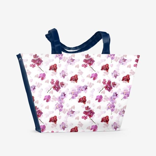 Пляжная сумка «акварельная орхидея»