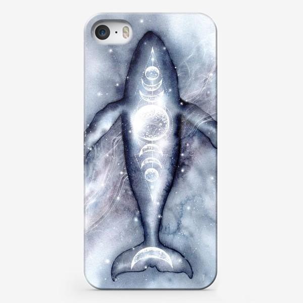 Чехол iPhone «Космический кит. Космос, луна, символы.»