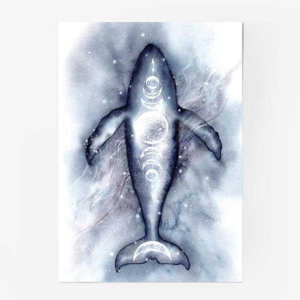 Постер «Космический кит. Космос, луна, символы.»
