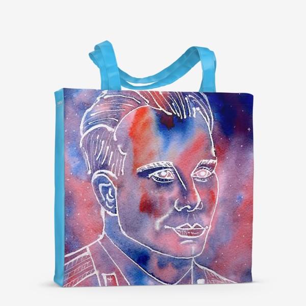 Сумка-шоппер «День космонавтики. Юрий Гагарин. Портрет. Акварель. Космос. »