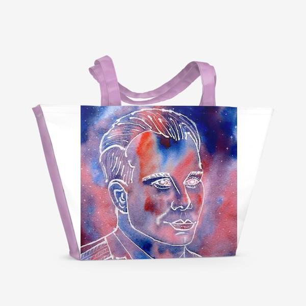 Пляжная сумка «День космонавтики. Юрий Гагарин. Портрет. Акварель. Космос. »