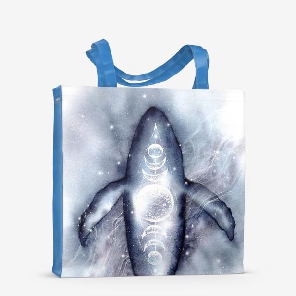 Сумка-шоппер «Космический кит. Космос, луна, символы.»