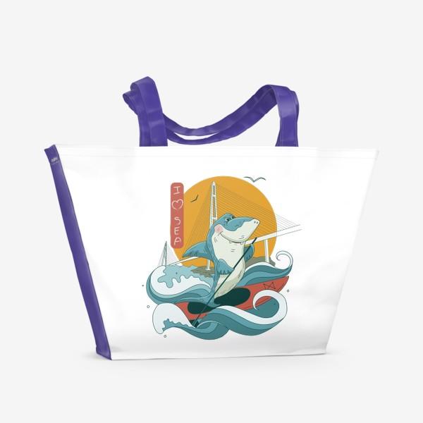 Пляжная сумка «Акула. Сапсерфинг. Владивосток»