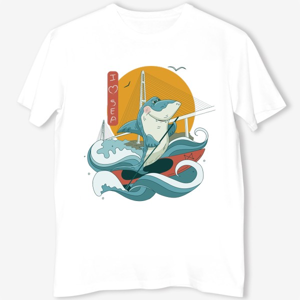 Футболка «Акула. Сапсерфинг. Владивосток»