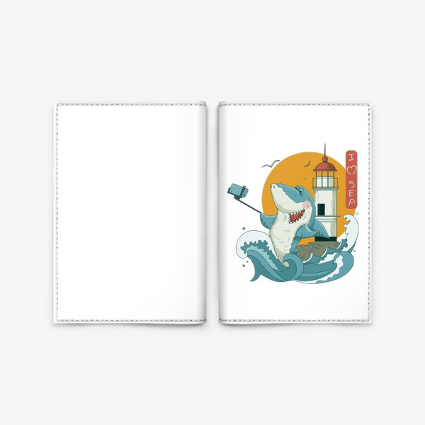 Обложка для паспорта «Акула, Море. Маяк. Владивосток»