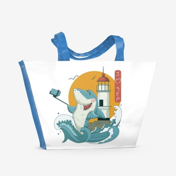 Пляжная сумка «Акула, Море. Маяк. Владивосток»