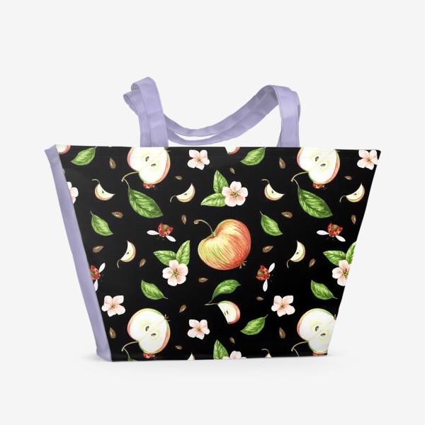 Пляжная сумка «Ночь в яблоках»