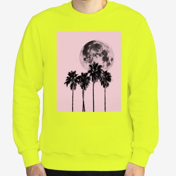 Свитшот «Пальмы и луна на розовом фоне»