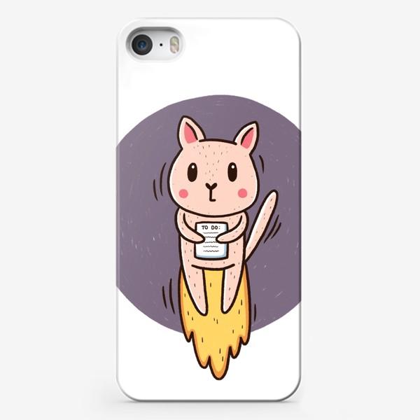 Чехол iPhone «Испуганный милый котик и многозадачность. Дедлайн. Сроки горят»