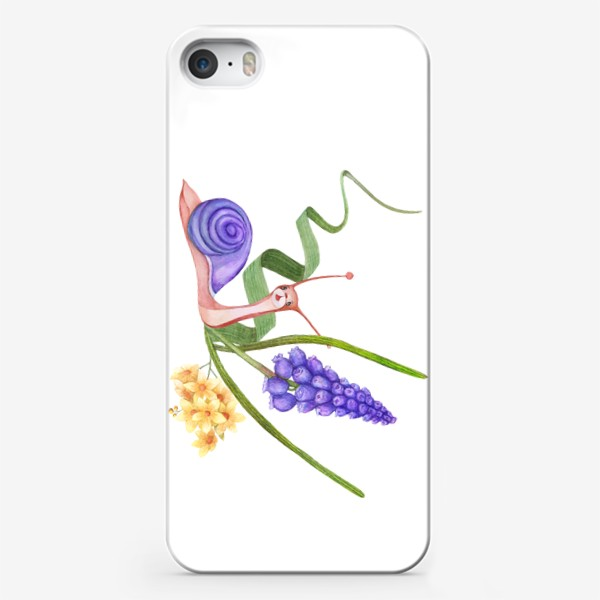 Чехол iPhone «Watercolor illustration of a little snail in spring colors.»