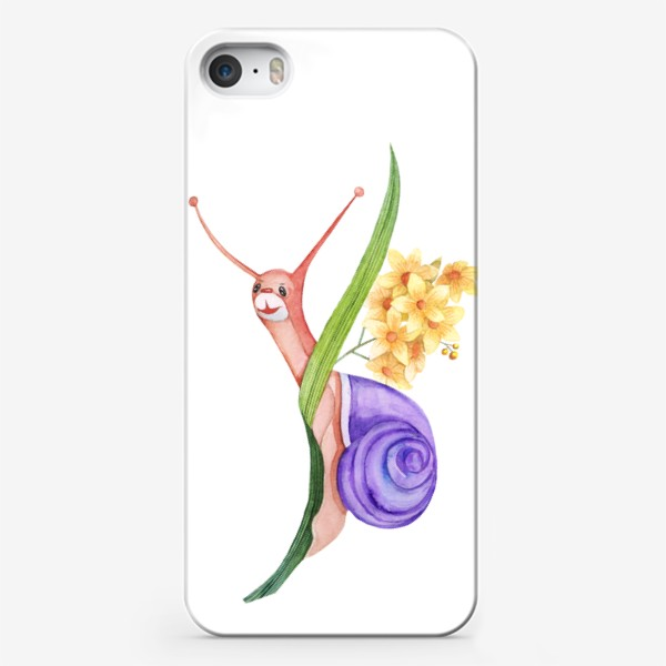 Чехол iPhone «Watercolor illustration of a little snail sitting on a blade of grass.»