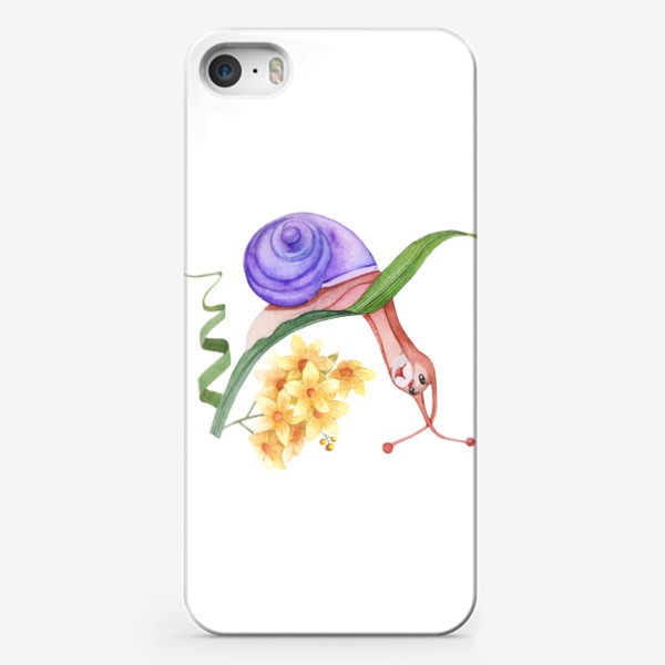 Чехол iPhone «Watercolor illustration of a little snail looking down2.»