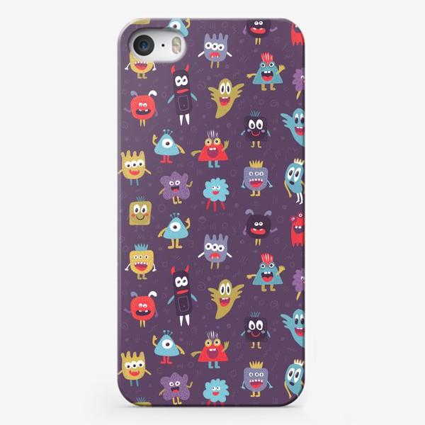 Чехол iPhone «Монстрики на фиолетовом»