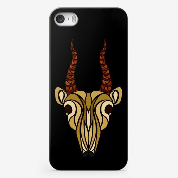 Чехол iPhone «Сайгак на черном»