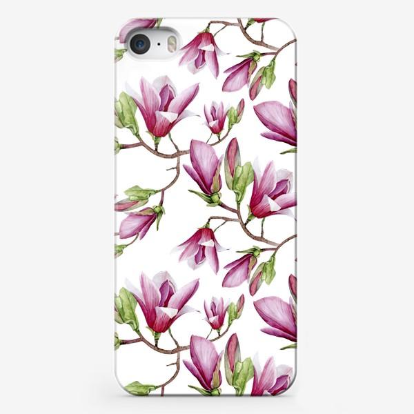 Чехол iPhone «Магнолия бесшовный рисунок»