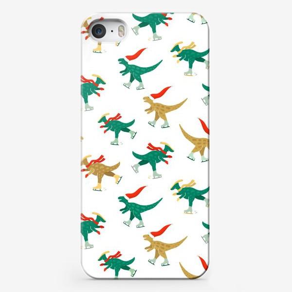 Чехол iPhone «Динозавры на коньках»