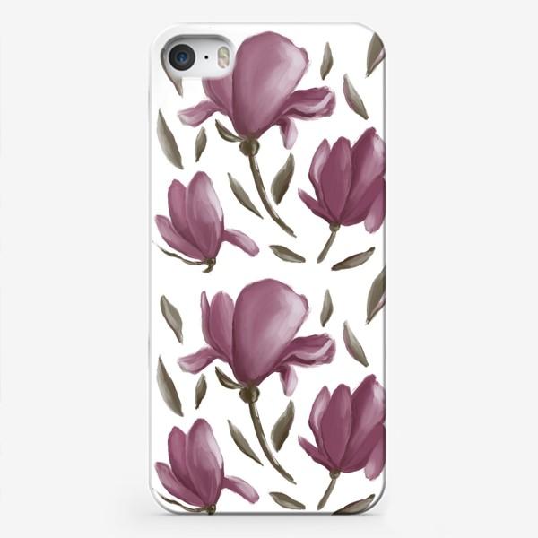 Чехол iPhone «Розовая магнолия - праздничный бесшовный принт»