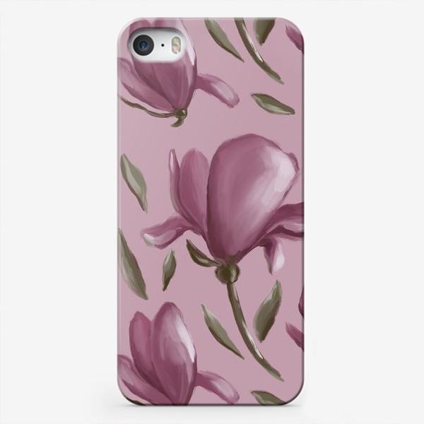 Чехол iPhone «Магнолия на розовом фоне»