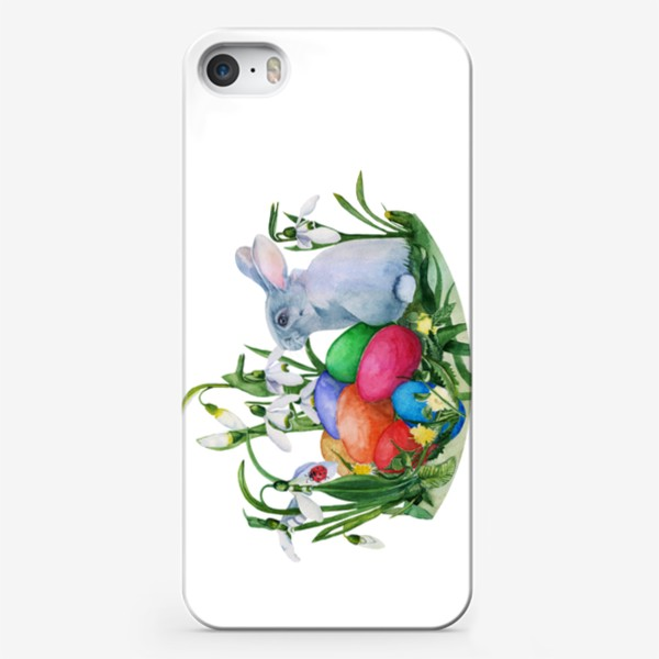 Чехол iPhone «Watercolor drawing easter bunny in the grass with saving eggs.»